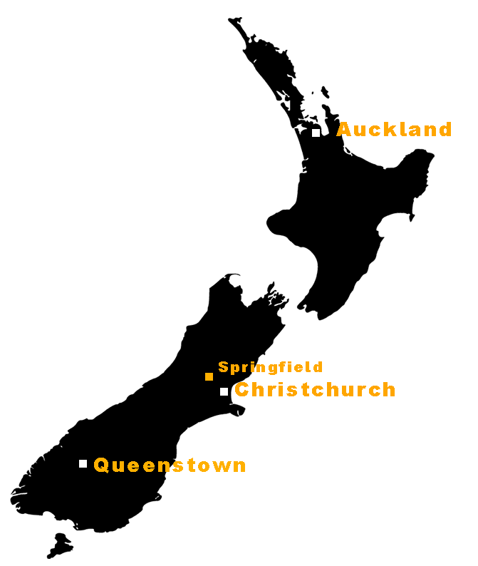 Map of New Zealand - Springfield Christchurch Queenstown