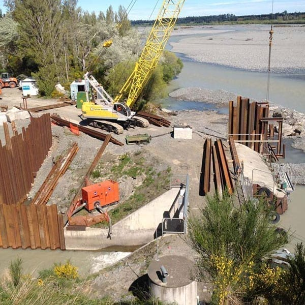 Browns Rock Intake Pages Curletts Road projects. Welding of structural piles web works industrial welders christchurch nz08